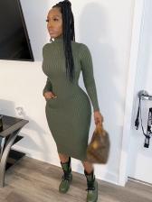 High Neck Solid Long Sleeve Midi Dress