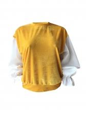 Stitching Color Lantern Sleeve Loose Velvet Sweatshirt