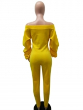 Trendy Heap Sleeves Bright Yellow Off The Shoulder Jumpsuit