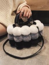 Chic Multicolored Plush Ball Handbags With Detachable Belt