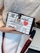 Adjustable Belt Letter Printed Rectangle Crossbody Bags