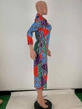 Contrast Color Block Shirt Midi Dress