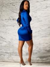 Lustrous v Neck Long Sleeve Bodycon Dress