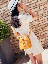 Hollow Out Drawstring Adjustable Belt Women Bucket Bag