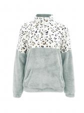 Fur Leopard Printed Stand Collar Sweatshirt