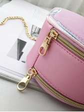 Chic Double-Zippers Letter Label Round Chain Crossbody Bags