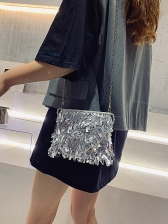 Glitter Rhinestone Sequins Crossbody Bags With Beads Handle