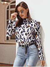 Autumn Puff Sleeve Stand Collar Leopard Blouse