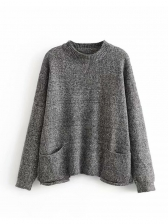 Loose Two Pockets Pullover Sweater