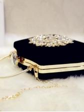 Semicircle Metal Handle Rhinestone Handbags With Chain