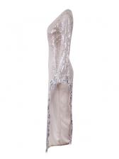 Deep V Neck High Split Hem Sequin Evening Dress