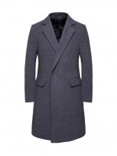 Formal Solid Pockets Long Mens Winter Coats