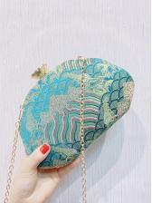 Irregular Shape Retro Pattern Crossbody Bags With Chain