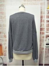 Deep V Neck Loose Gray Sweatshirt For Women