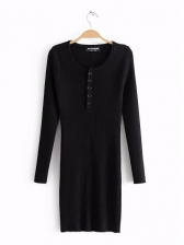 Crew Neck Single-Breasted Fitted Long Sleeves Knit Dress