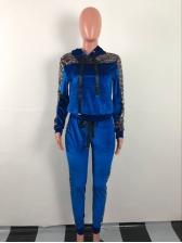 Glitter Sequins Patchwork Ribbon Hooded 2 Piece Pants Set
