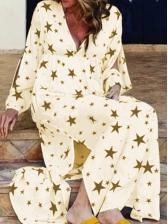 Casual V Neck Star Print Long Sleeve Maxi Dress