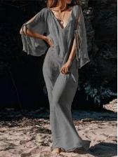 V Neck Cold Shoulder Solid Boho Maxi Dress