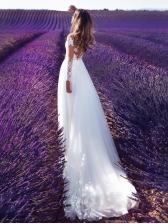 Long Sleeve See-Though White Long Sleeve Wedding Dress