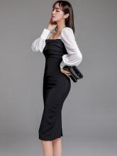 Ol Style Square Neck Contrast Color Ladies Dress