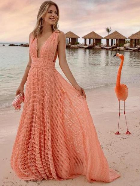 Vacation Solid V Neck Sleeveless Maxi Dress