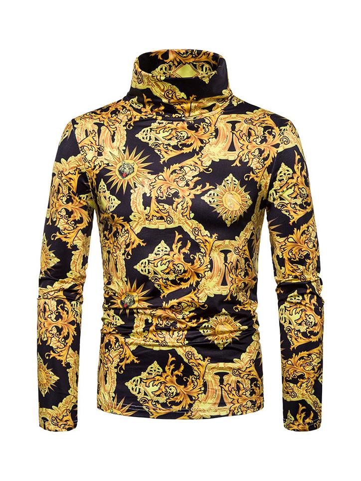 Retro Golden Pattern Printed High Neck T Shirt Design