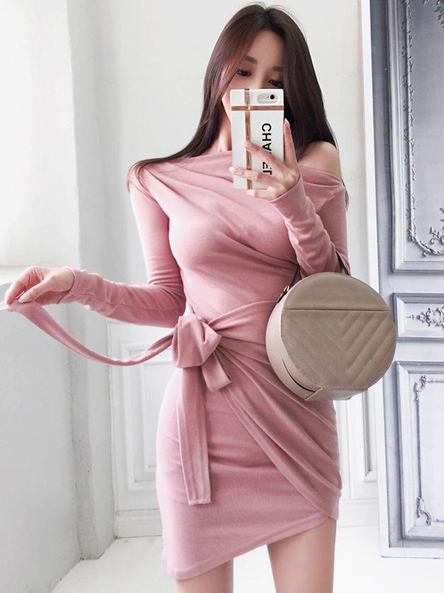 Inclined Shoulder Tie-Wrap Solid Color Cotton Short Dress