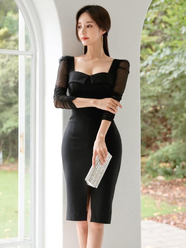 Square Neck Split Tulle Sleeves Black Bodycon Dress