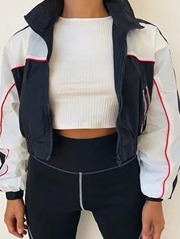 Contrast Color Zip Up Ladies Jacket