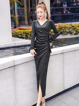 V Neck Split Hem Glitter Long Sleeve Wrap Dress