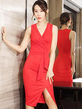 V Neck Tie-Wrap Sleeveless Party Dress