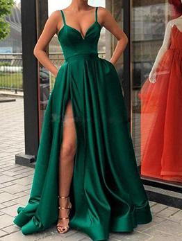 High Split Strap Long Sleeveless Prom Dress