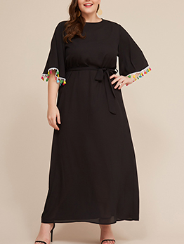 Tassel Patch Long Sleeves Plus Size Dress