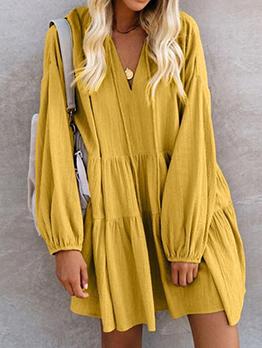 Solid V Neck Loose Long Sleeve Short Dress