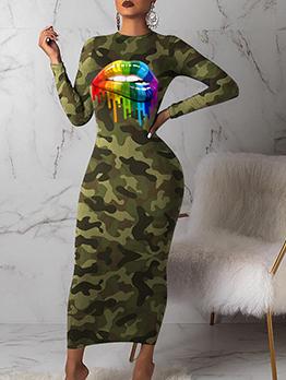 Camouflage Lip Print Long Sleeve Bodycon Dress