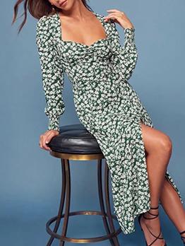 Square Neck High Split Long Sleeve Floral Dress