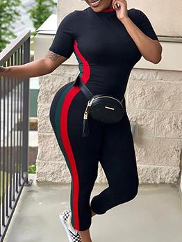 Casual Contrast Color Short Sleeve Jumpsuit