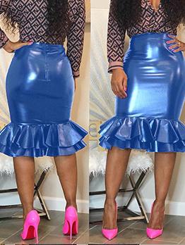 Pu Fishtail Edge Bodycon High Waisted Skirt
