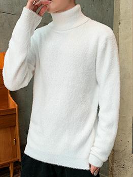 Winter Soft Pure Color Turtleneck Sweater For Men