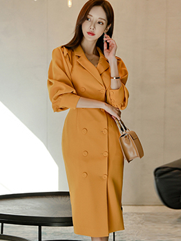 Double Breasted Lantern Sleeve Yellow Dress For Autumn