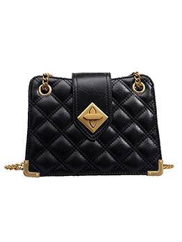 Plaid Solid Chain Shoulder Bag