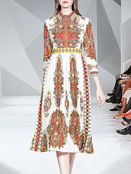 Vintage Style Printed Turndown Neck Long Sleeve Dress