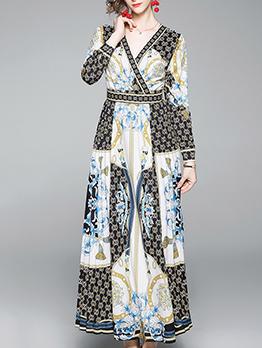 V Neck Color Block Printed Large Hem Maxi Dresses