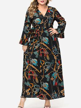 Printed V Neck Long Sleeve Plus Size Dresses