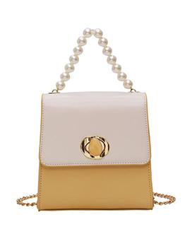 Pearl Decor Twist Lock Crossbody Shoulder Bag