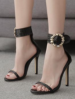 Snakeskin Printed Metal Buckle Heel Sandal