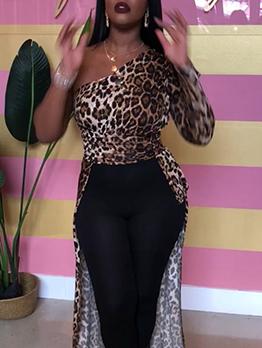 Inclined Shoulder Leopard Print High Low Hem Long Blouse