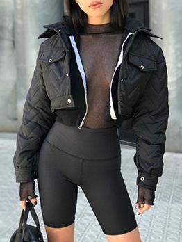 Turndown Neck Single-Breasted Ripple Cropped Jacket