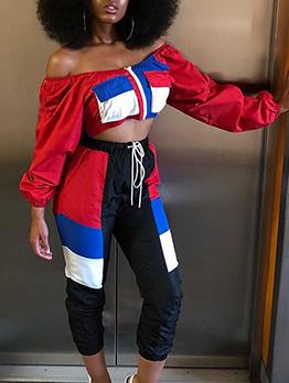 Off Shoulder Contrast Color Loose Ladies Sportswear