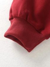 Solid Casual Long Sleeve Crewneck Sweatshirt
